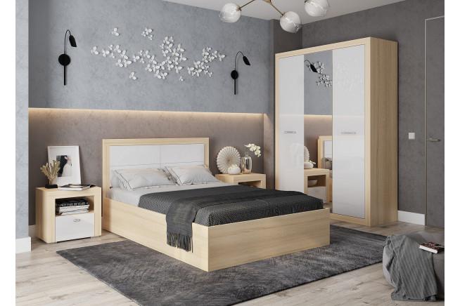 Клео Кровать 1,6 б/к;б/м с мягкой спинкой (дуб сонома)